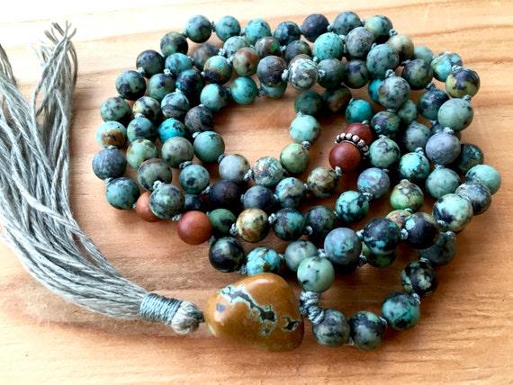 Boho Mala Beads African Turquoise, Sandalwood,  Protection Mala Beads, Mantra, Meditation Beads, Unisex Mala Beads, Yoga Jewelry