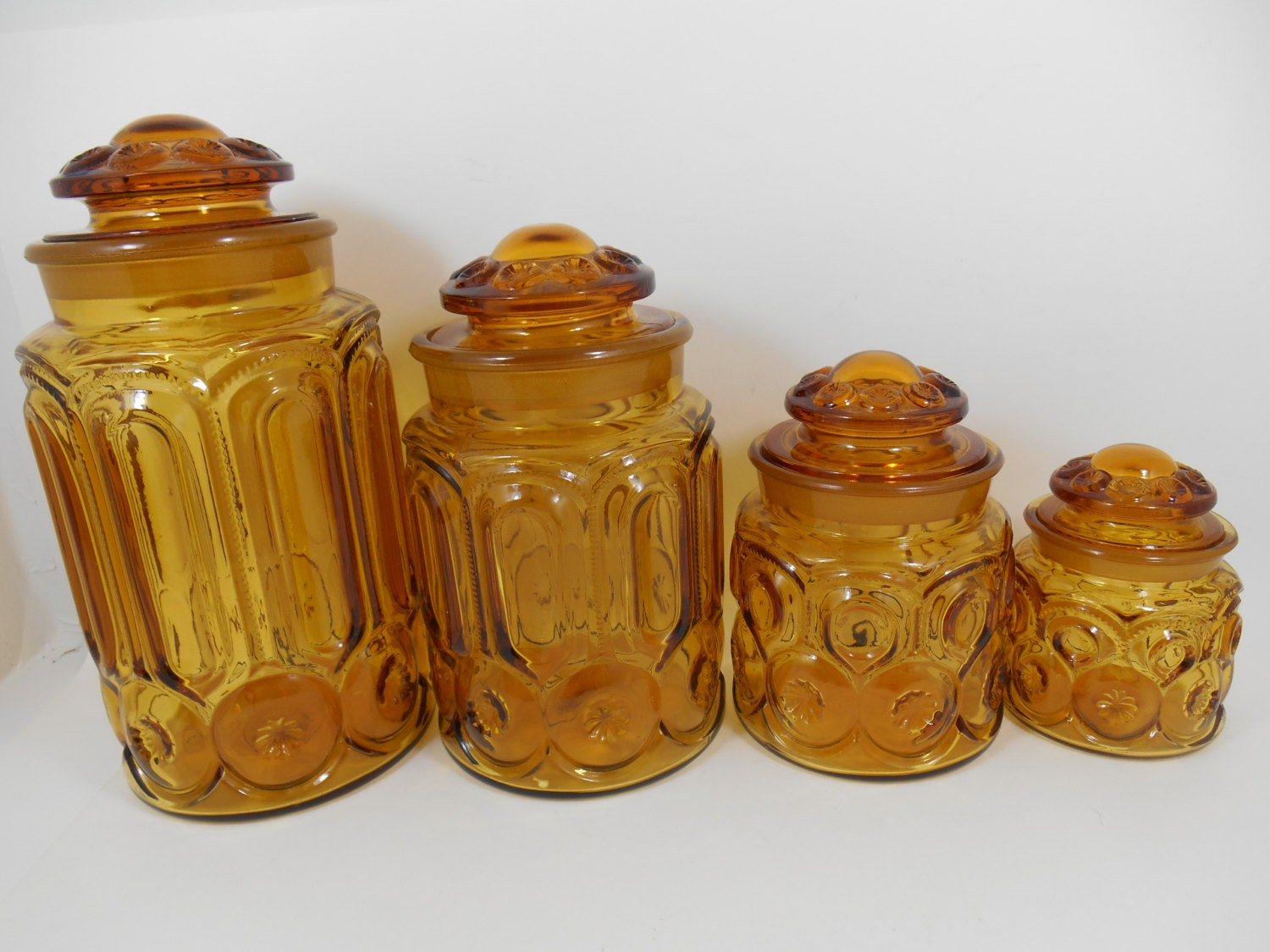 l.e. smith moon and stars amber glass kitchen canister set of