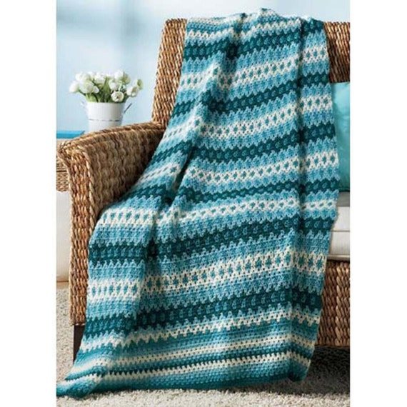 Knitted Baskets Free Patterns : Shades of Blue Fair Isle Afghan Crochet Afghan by CalhounBookStore