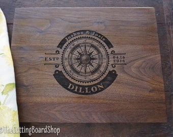 Compass Custom Cutting Board Aviators or Boaters Present Coastal Decor Personalized Retirement Gift Vacation Host Hostess Gift for Him
