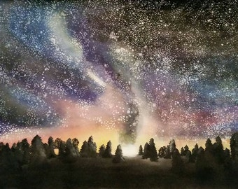 Starry sky//ink painting