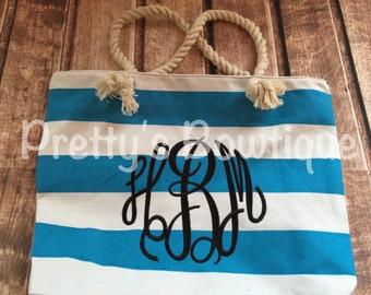 Beach Tote Bag - Monogrammed Tote Bag - Personalized Tote Bag - Personalized Custom Bag - Monogrammed Bag - Beach Bag - Travel Tote -- sale