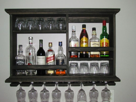 Mini bar black stain wine rack liquor cabinet minimalist for Mini bar wall cabinet