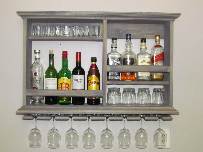 Mini Bar Weathered Gray Wine Rack 3 X 2 Liquor Cabinet