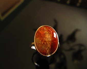 Mexican Crazy Lace Agate in Sterling Bezel with Forged Faceted Sterling Band