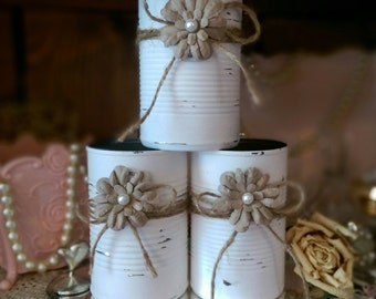 Shabby Chic Painted White Tin Can Jute Paper Flower Pearl Rustic Country Wedding Centerpieces Vases Home Office Dorm Nursery Decor Gift