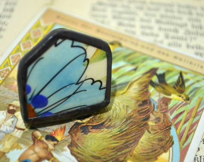 Blue porcelain ring from the vintage French vase