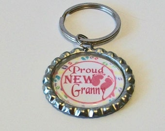 Pink and White Proud New Granny Grandmother Metal Flattened Bottlecap Keychain Great Gift