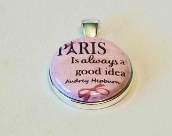So Pretty Pink Paris is Always a Good Idea Round Silver Pendant