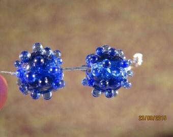 Funky Bumpy two Blue two Purple Beads