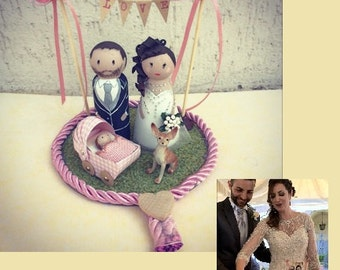 Custom cake topper figurines wood wedding wedding cake
