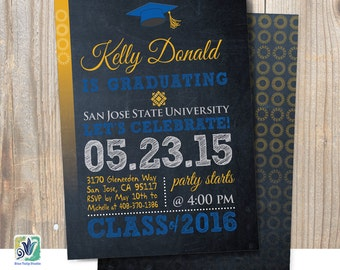 Graduation Invitation, Chalkboard Graduation Invitation, San Jose State University Graduation Invitation, Double-Sided