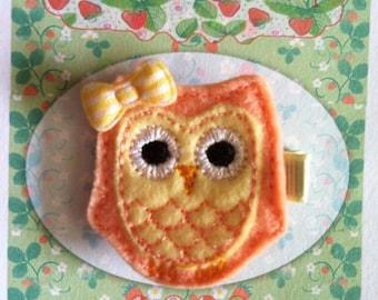 Orange and Yellow Owl Hair Clip