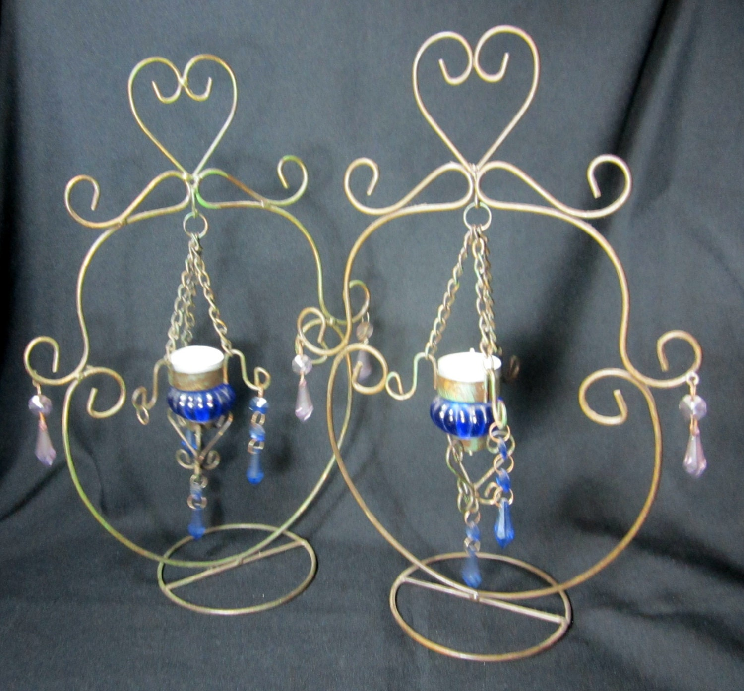 Candle Holder Wire Tea Lights Unique Blue Glass Stand