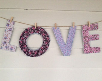 LOVE: vintage floral scrap fabric pink and purple quilted letters for display or play, nursery decor, wedding decor, Valentine's Day
