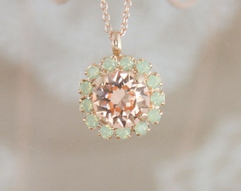 Crystal pendant necklace,Swarovski necklace,peach necklace,crystal necklace,bridesmaid necklace,bridal necklace,peach and mint wedding,mint