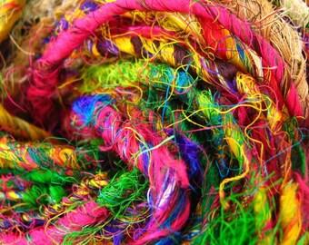 Handspun Pure Silk Art Yarn, Chunky, Multicolour, Vibrant Recycled Sari Silk 'Mandala' 100 grams approx 60yards/55metres + free crochet hook