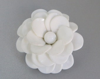 White Flower Brooch, Vintage West Germany Brooch, Summer Jewelry, Gift for Her