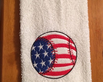 Embroidered ~USA PATRIOTIC BASEBALL~ Kitchen Bath Hand Towel