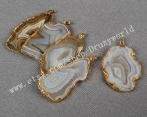 5&10Pcs Onyx Druzy Slice Pendant Gold Plated Druzy Natural Agate Geode Pendant Golden Electroformed Gemstone Pendant Geode Jewelry G0092