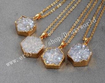 Wholesale Gold Plated Hexagon Natural Agate Titanium AB Druzy Necklace Natural Titanium Druzy Necklace  Gemstone Geode Jewelry G0391-N
