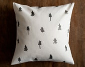 Pine tree pillow cover, eco friendly throw pillow, forest patterned cushion cover, hemp & organic cotton holiday gift, natural home decor