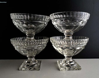 Set of 4 Vintage Cut Glass Footed Ice Cream Sundae Dish/Footed Dessert Dish