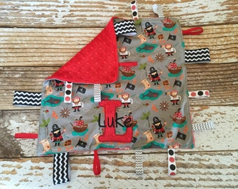 Appliqued pirate minky ribbon blanket