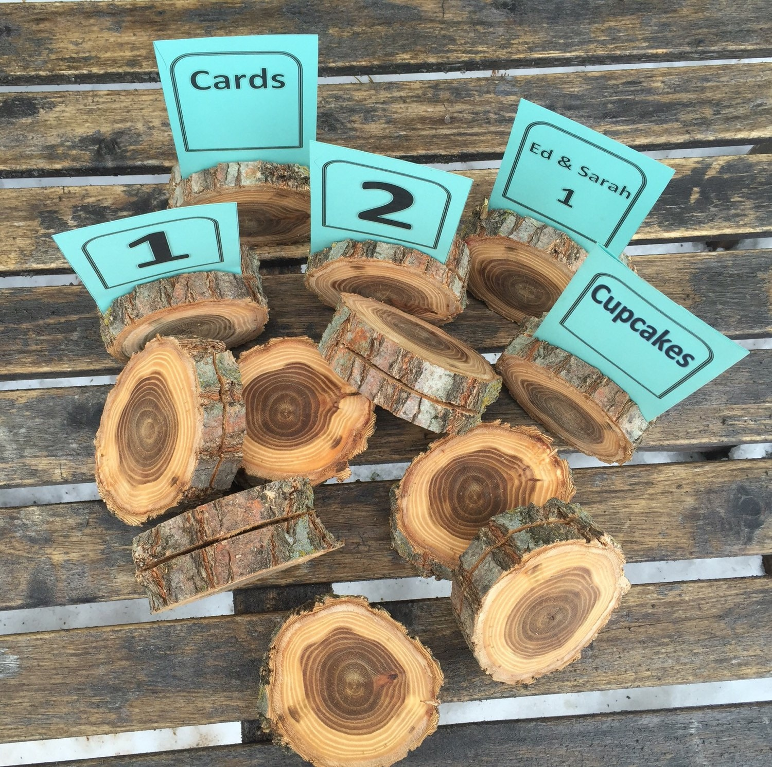 Log slice wood table number place card food tent label