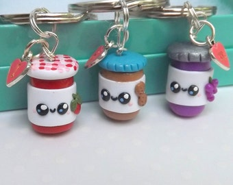 Peanut Butter Jelly,  Three Best Friends, Best Friend Keychains, Friendship Gift, Bridesmaids Gift, PBJ Friends, Food Keychain, Funny Friend