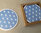 Letterpress blue Japanese motif coaster set (#CST001)