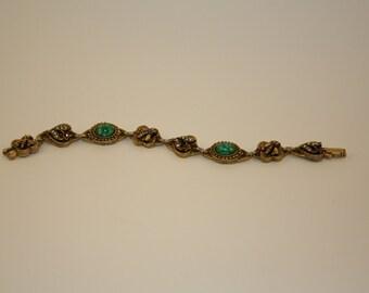 Bracelet, Vintage ART Bees and Flower Bracelet