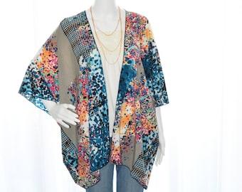 Abstract Kimono Cardigan / Modern Kimono Jacket / Colorful Lightweight Wrap / Boho Kimono / Kimono Top