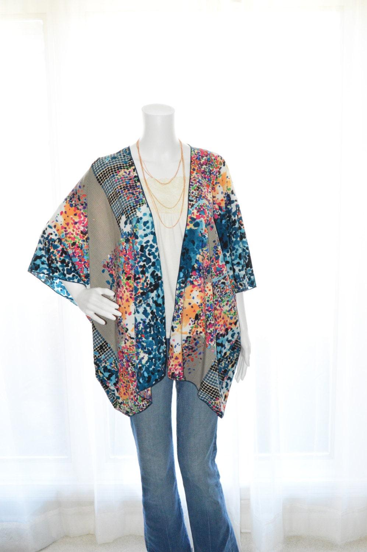 Abstract Kimono Cardigan / Modern Kimono Jacket / Colorful