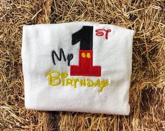 Mickey 1st Birthday shirt for boys, Mickey Mouse birthday onesie, Boys Birthday shirt, my 1st birthday shirt
