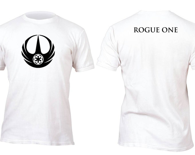 Featured listing image: Rare White Rogue One Black Front logo Galatic Empire Custom Shirt All sizes up to Plus 5x