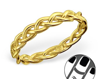BRAID Above the Knuckle Midi Ring - Size 3.5 - 18K Gold Plated Sterling Silver - MRG6665GP