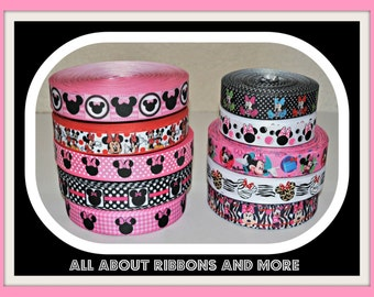 10 yards of Mickey and Minnie Mouse Grosgrain Ribbon- 1 yard of each ribbon (Free Shipping)