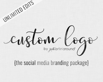Custom Logo Design - Photography Logo - Watercolor Logo - Logo Design Package - Custom Branding Package - Business Logo - Handwritten Logo