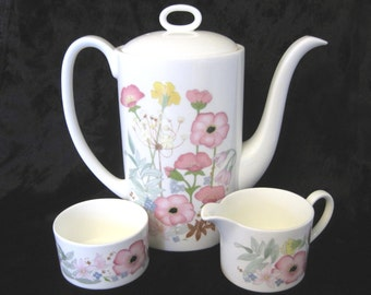 Wedgwood Coffee Pot and Creamer Set, Meadow Sweet Pattern
