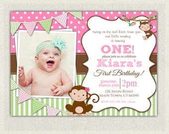 Girls Pink and Green Monkey 1st Birthday Invitation / Printable Download / First Birthday Monkey Invitation Invites Pink Green Bunting (83)