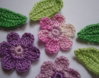 Crochet Flowers set 10 pieces with 10 leaves