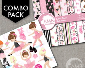 COMBO Little Pink Ballerinas Clipart  and Digital Papers Pack, Ballet Class, Party invitations, Recital, Commercial Use, AMB-1610