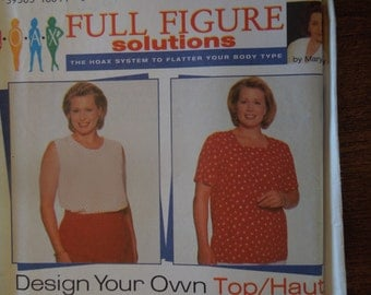 Simplicity 7034, misses, womens, tops, sizes 18W-24W, UNCUT sewing pattern, craft supplies, full figure solutions