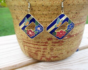 Blue Floral Cloisonne Earrings