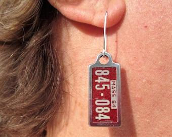 1964 Massachusetts Mini License Plate Earrings