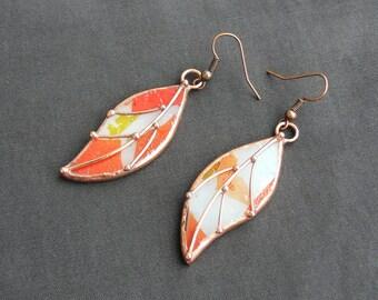 Leaf Drop Earrings Glass Earrings