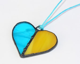 Stained Glass Pendant Necklace Blue&Yellow Heart Ukraine Handmade Jewelry Glass Jewelry Unique