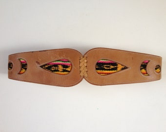 Tan Leather Belt. Large Leather Belt. Hippie Boho Festival Belt. Ethnic Belt. Woven Belt. Bohemian Belt. Festival. FREE UK SHIPPING