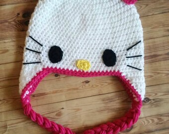 Crochet Hello Kitty Hat---Made to order